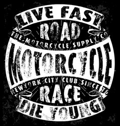 tee vintage motorbike race hand drawing t-shirt vector image vector image