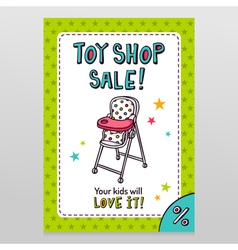 Toy shop sale flyer design with high baby feeding vector