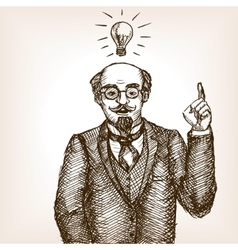 Vintage scientist gentleman sketch style vector image vector image
