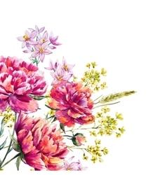 Watercolor peony vector