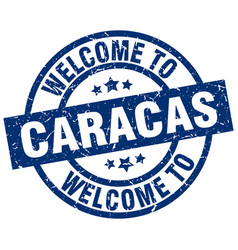 welcome to caracas blue stamp vector image vector image