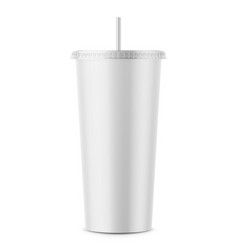 white disposable paper cup with lid and straw vector image