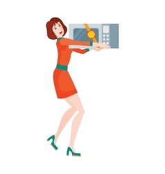 Woman Buys Microwave Oven Sale on Discount Price vector image vector image
