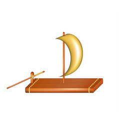 wooden raft with sail vector image