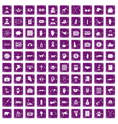 100 donation icons set grunge purple vector