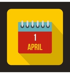 April 1 April Fools Day calendar icon flat style vector image