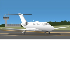 Business jet in the airport vector