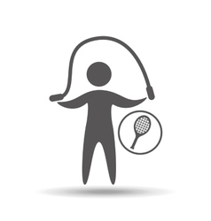 Man silhouette racket tennis and jump design vector
