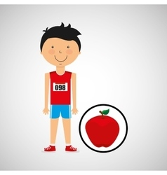 Cartoon boy athlete with apple vector