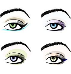 Eye make up stylized pattern sketches set vector image