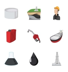 Fuel icons set cartoon style vector image