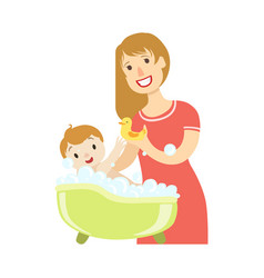 Young mother giving a bath to baby son vector