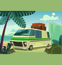 Holiday car flat cartoon vector
