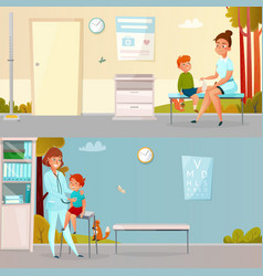 kid visits doctor cartoon banners vector image