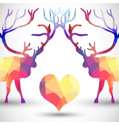 Silhouette a deer of geometric shapes with heart vector