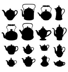 tea kettles set teapots collection coffee pot vector image