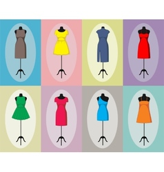 Different vintage dresses on a mannequin vector