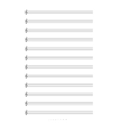 Blank a4 music notes with treble clef vector