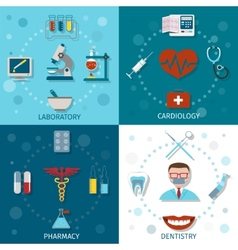 Medical set flat vector