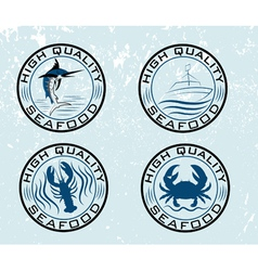 Set of emblems seafood on grunge background vector