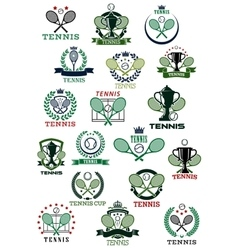 Tennis heraldic emblems with sport items vector
