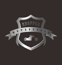 Shiny silver shield chopper motorcycle vector
