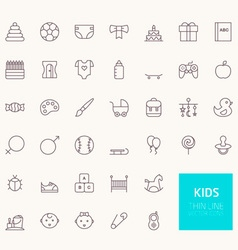 Kids outline icons for web and mobile apps vector