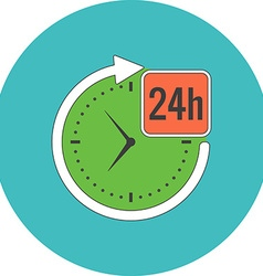 24 hours service concept flat design icon in vector