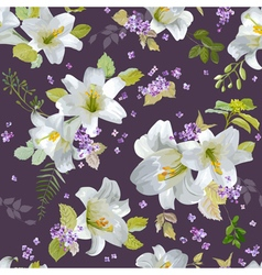 Spring lily flowers background vector