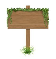 Wooden sign ivy grass vector