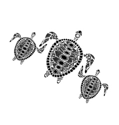 Tortoise family zentangle for your design vector