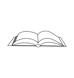 Open book with cover icon outline style vector
