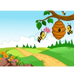 Bees cartoon holding flower and a beehive with for vector image vector image