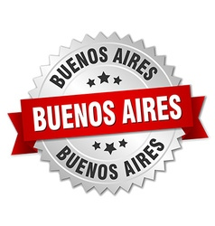 Buenos aires round silver badge with red ribbon vector