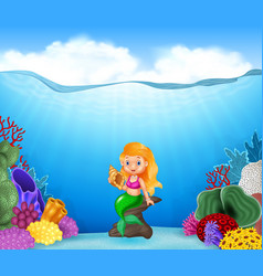 Cartoon mermaid holding seashell with beautiful un vector