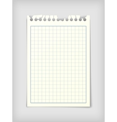 Checkered note paper sheet vector image vector image