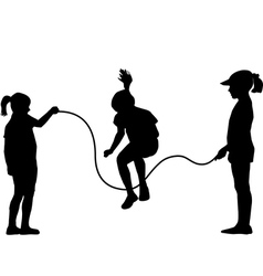 Children silhouettes jumping rope vector image