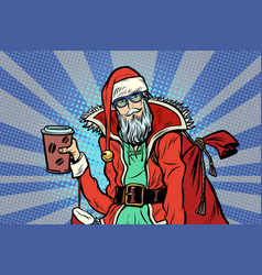 Close-up hipster santa claus with a cup of coffee vector