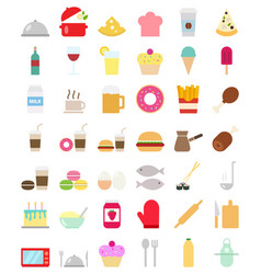 cooking foods icons set in flat style vector image vector image