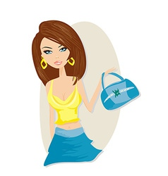 Cute girl with bag vector image vector image