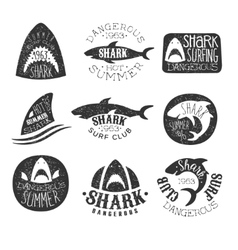 Dangerous shark surf club set of black and white vector