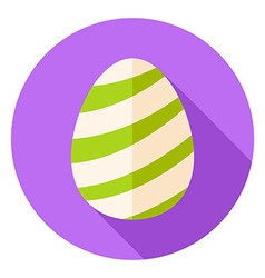 Easter Egg with Striped Decor Circle Icon vector image
