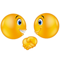 Emoticons shaking hands vector image