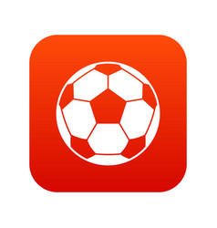football soccer ball icon digital red vector image vector image
