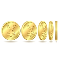 Golden coin with yen sign vector image vector image