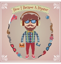 Hipster boy poster vector image vector image