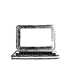 Laptop technology network digital sketch vector