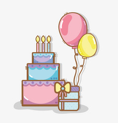 Line cake with balloons and gift birthday vector