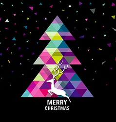 Merry Christmas geometry tree with reindeer vector image vector image