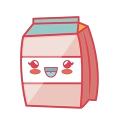 Milk box carton kawaii style isolated icon vector